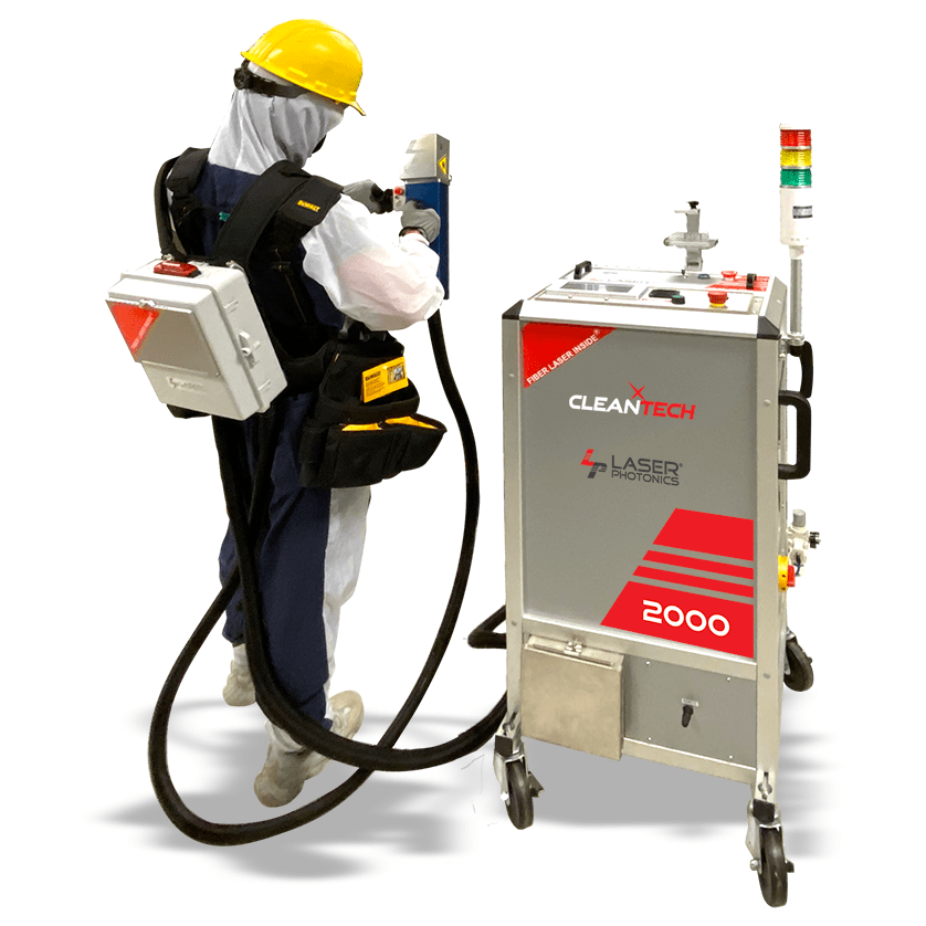 technician using laser cleaning machine