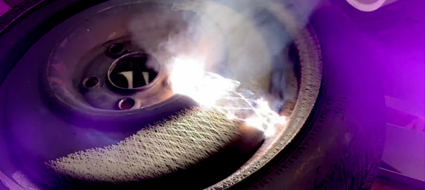 CleanTech laser removing rust from steel wheelwheel