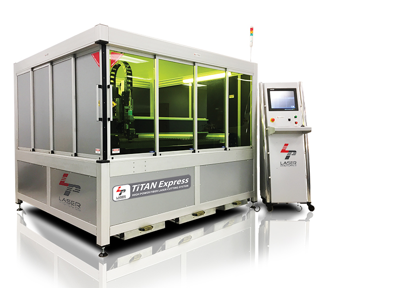 Titan Express fiber laser cutting system. Industrial grade cutting system that fits in your facility and your budget