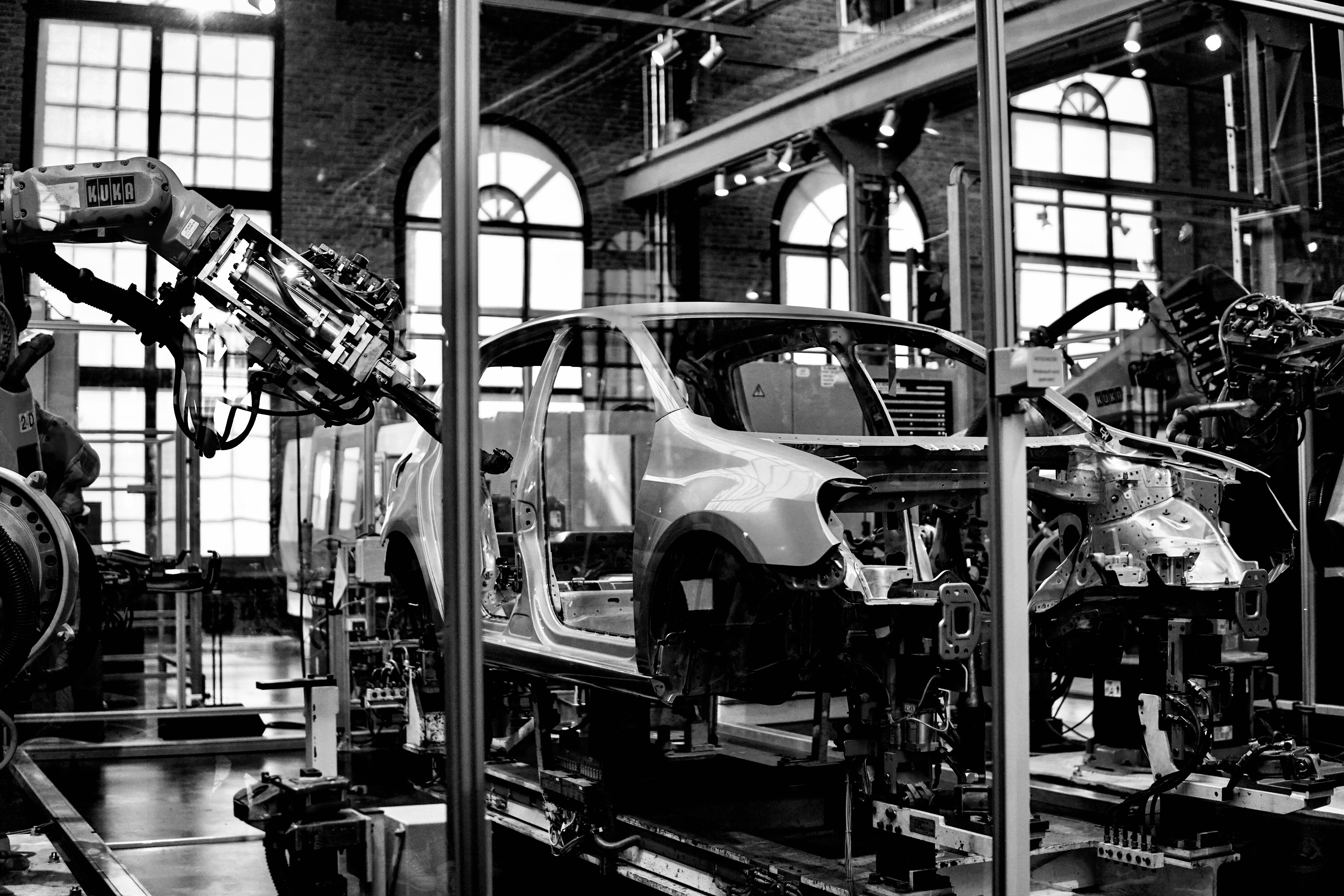 robot arm in car factory
