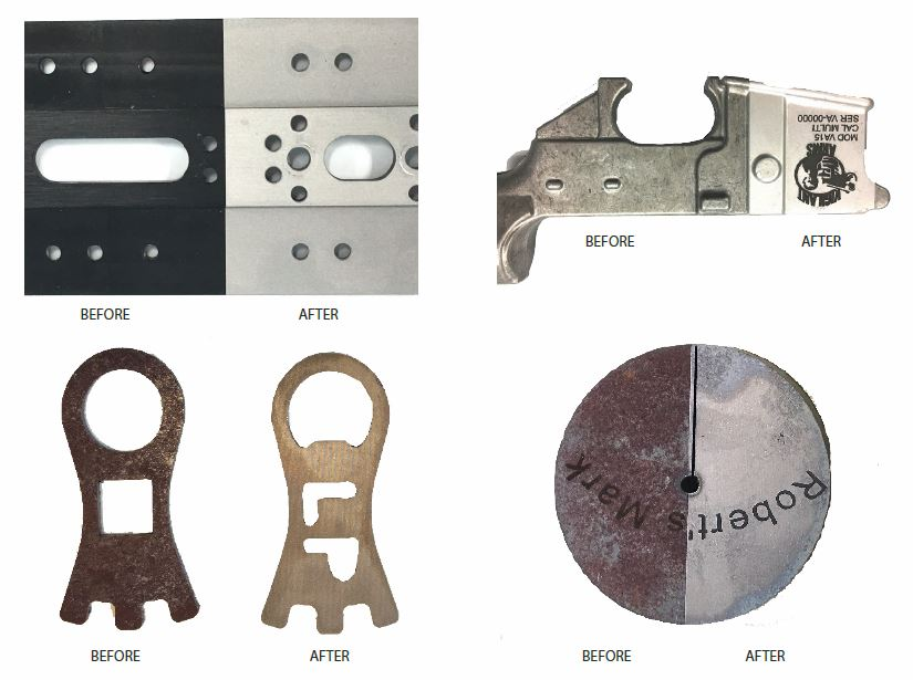 laser cleaning samples of depainting, rust removal, surface preparation and cleaning